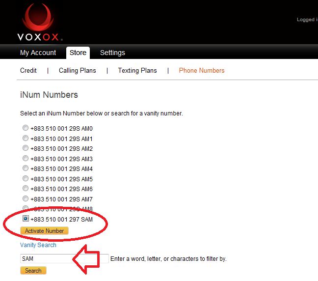 How to Select and Activate Your iNum Number with VoxOx