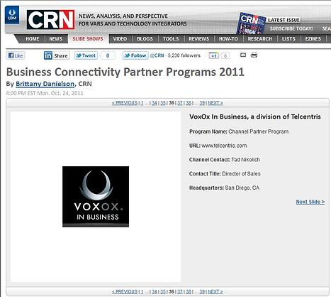 Voxox In Business recognized by CRN