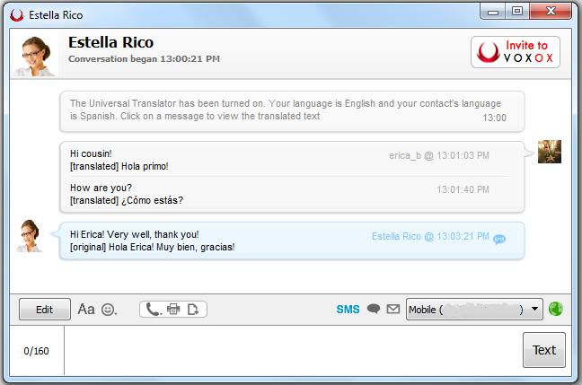 Voxox Universal Translator - Translated Conversation