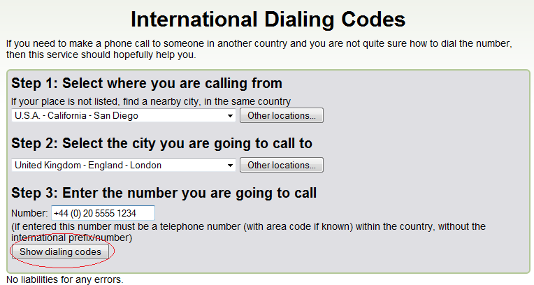 International Dialing COdes