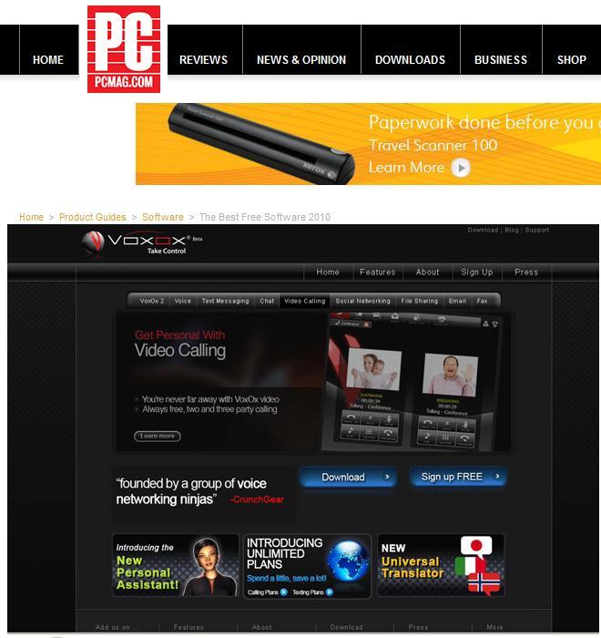 Screenshot of PCMag web page