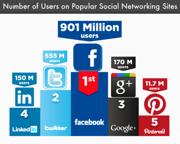 Number of Users on Social Networks - infographic