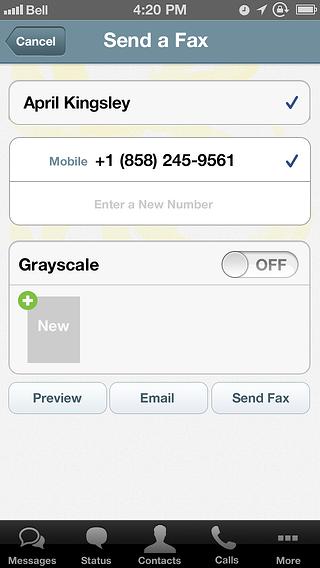 Voxox iPhone Send A Fax