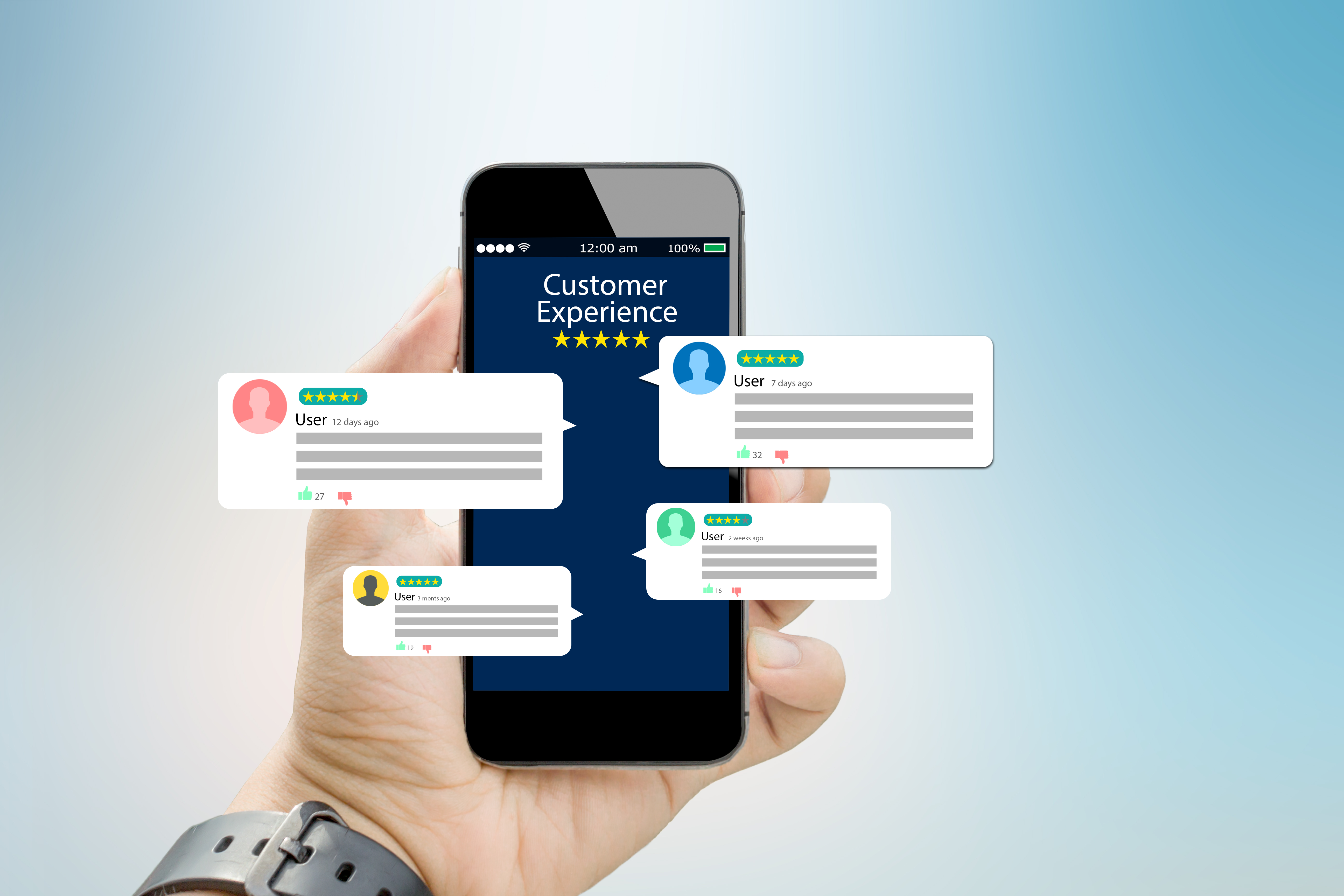 customer-experience-review-concept-hands-holding-mobile-phone